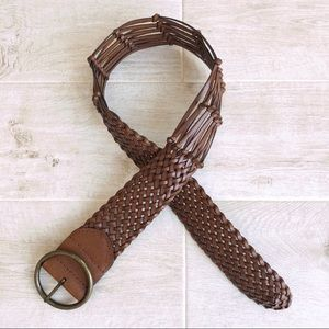 Anthropologie Linea Pelle Brown Leather Woven Belt